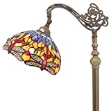 Tiffany Style Reading Floor Lamp Blue-Orange Dragonfly Table Desk Lighting H64 Inch E26 for Bedroom