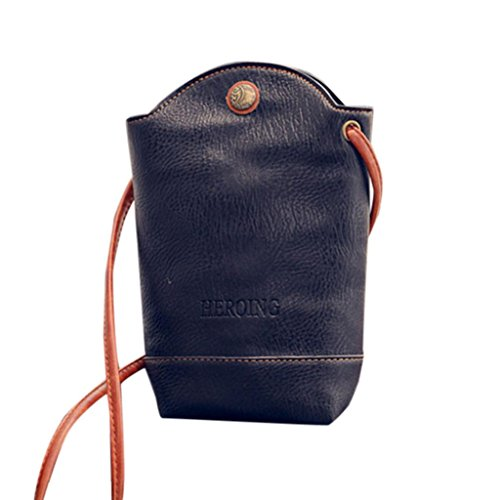Slim Women for Crossbody Shoulder CieKen Vintage Cover Leather Bags PU Body Small Satchel Black Bags IqF8fa