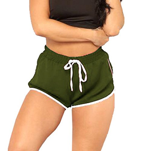 Price comparison product image Clearance Sale!FarJing Women High Waist Yoga Pants Bandage Elastic Waist Casual Short Pants(M, Army Green)