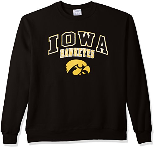 - Champion NCAA Iowa Hawkeyes Men's Power Blend Fleece Crew Neck Sweatshirt, Large, Black