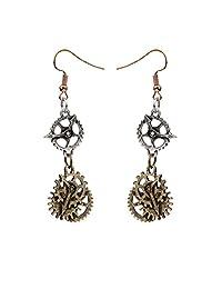 Generic 1 Pair Steampunk Earring Fish Hook Design Bronze Alloy Fashion Ear Jewelry