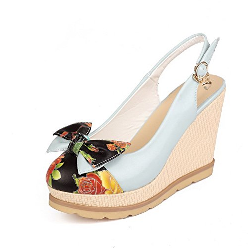 AgooLar Women's Round Closed Toe Buckle PU Assorted Color High-Heels Sandals Blue
