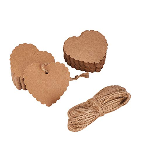 Fashewelry 100Pcs Scalloped Edge Blank Heart Kraft Paper Label Display Price Tags 2.36x2.52