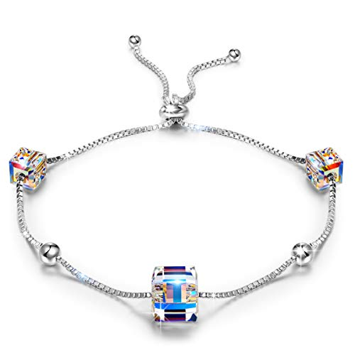 Link Angel Sterling Bracelets Silver - ANGEL NINA Bracelet for Women 925 Sterling Silver Crystal from Swarovski Colorful Cubic, Jewellery Gift Box Packing, Nickel Free Passed SGS Test Best Choice