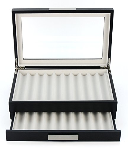 - 20 Piece Black Ebony Wood Pen Display Case Storage and Fountain Pen Collector Organizer Box with Glass Window Two Level Display Case with Drawer