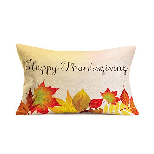 Halloween 07 Quotes (Xihomeli Maple Leaf Throw Pillow Covers Welcome Fall Decorative Throw Pillow Case Cotton Linen Happy Thanksgiving Quote Pillowcase Lumbar Rectangle Cushion Cover for Couch Bed 12x20 Inch(QAD)