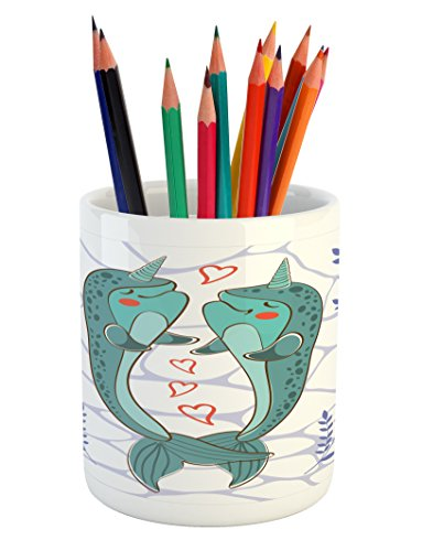 Narwhal Pencil Pen Holder by Ambesonne, Valenties Day Themed Illustration with Colorful Whales in Love Aquatic Adoration, Printed Ceramic Pencil Pen Holder for Desk Office Accessory, - Day Valenties Ideas