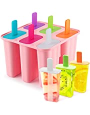 DEHUB Ice Cream Moulds, 6 Pieces Silicone Ice Pop Molds BPA Free Popsicle Mold Reusable Easy Release Ice Pop Maker - Food Grade Ice Pops Shapes for Homemade Popsicle