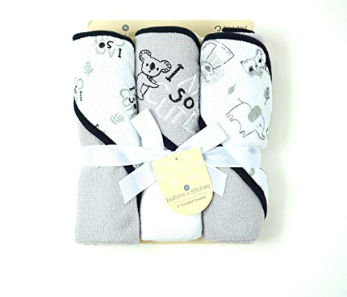 Buttons and Stitches Culdie Buttons and Stitches 3 Pack Rolled Hooded Towels in Jungle Cuties Print
