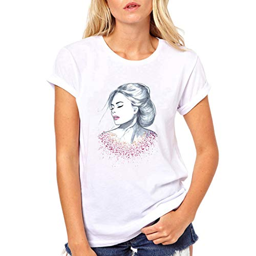 (Londony♪ Women Summer Funny Print Short Sleeve Top Tee Graphic Cute T-Shirt Casual Loose Tunic Blouses Teen Girls Tops)