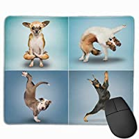 wodealmug Large Mouse Pad with Funny Animals Design Yoga Dogs for Computer Office Gaming