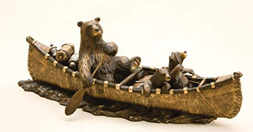 DEMDACO Canoe Trip Bronze Color 9 x 24 Hand-cast Resin Decorative Sculpture