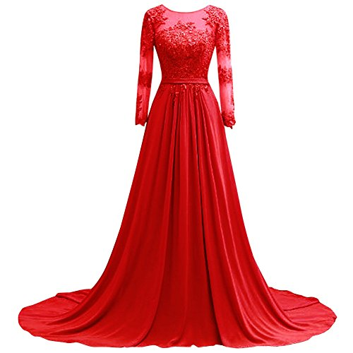 Formal Sleeves Dresses Red Chiffon Prom Lace Bridal Bess Women's Long Evening YOtxq7