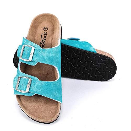 Seranoma Women's Comfort Double Buckle Indoor/Outdoor Cork Sandal   Classic Comfortable Slide   Adjustable Buckles Sky Blue (Best Slip On Sandals 2019)