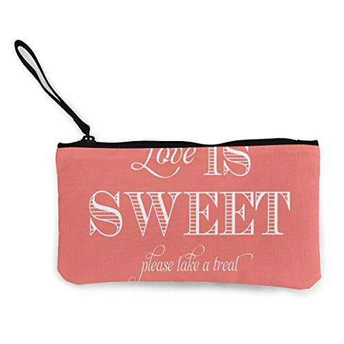 Coin Purse Love is Sweet Wedding Sign Mens Fastener Canvas Wallets ChangeCool Case