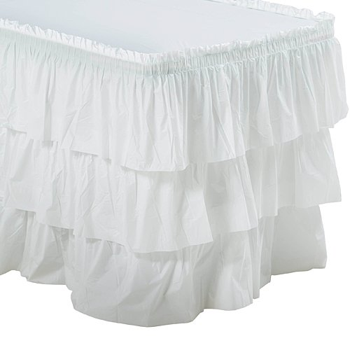 White 3 Tier Ruffled Table Skirt Party Supplies Decorations]()