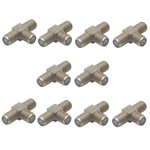 Eightnoo 10-Pack 3-Way F-Type Coax Cable Splitter Combiner Female to 2 Female for Video VCR Antenna TV Cable Satellite