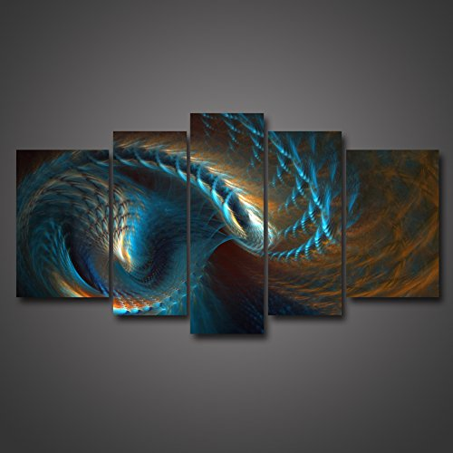 5 Panel Wall Art Fractal Like Clover Design Yellow And Blue Wave Wall Art Painting Picture Print On Canvas Abstract The Picture For Home Modern Decoration For Living Room Bedroom Office by uLinked Art