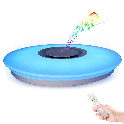 Horevo Plafon con altavoz LED Lámpara de Techo con Altavoz Bluetooth, Certificado CE, 24W, 1800 Lúa Menes, 6500K Cool Blanco Calido Ajustable + Luz de Colores, APP + Mando a Distanci