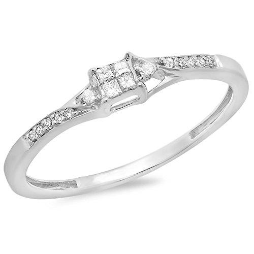 0.15 Carat (ctw) 10K White Gold Round & Princess Cut Diamond Ladies Bridal Promise Ring 41B9JeGCm 2BL home Home 41B9JeGCm 2BL