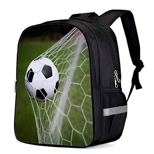 Water Resistant School Backpack, Football Goal Net Lawn Oxford 3D Print College Student Rucksack Daypack for School Camping Travel 41x30x17cm]()