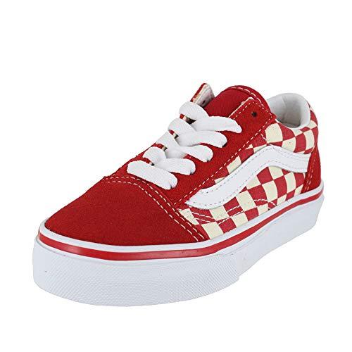 Vans Kids K Old Skool V Primary Check Racing RED White Size 3 ()