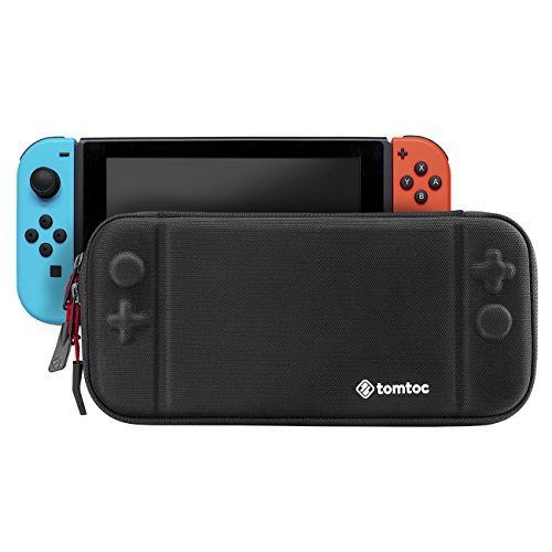 Slim Nintendo Switch Case, Tomtoc Portable Hard Shell Travel Carrying Case Cover with 8 Game Cartridges and an Accessories Pouch for Nintendo Switch Console, Black
