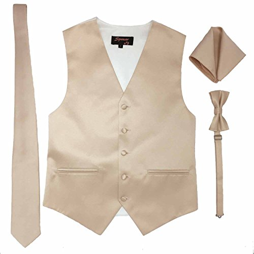 Spencer J's Men's Formal Tuxedo Suit Vest Tie Bowtie and Pocket Square 4 Peace Set Verity of Colors (XS (Coat Size 18-34), Blush Pink)
