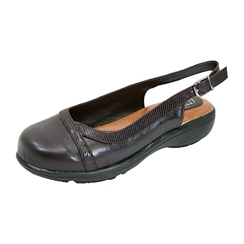 Shoes Slingback Leather (Peerage FIC June Women Extra Wide Width Leather Slingback Clog Brown 11)