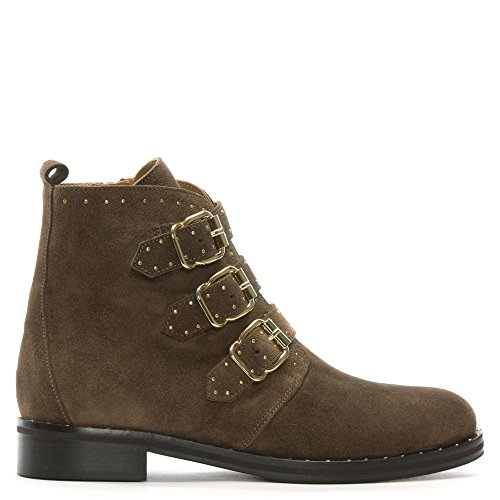 Daniel nibble Taupe Suede Studded Biker Boots Taupe Suede