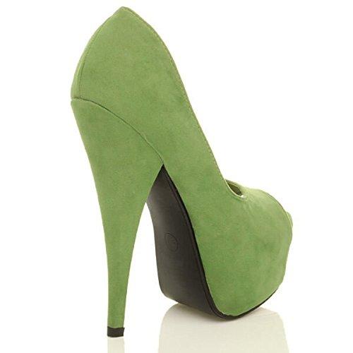 Classique Sandales Bout Vert Haut Femmes Ouvert Plateforme Chaussures Daim Pale Pointure Talon wqXU4T0S