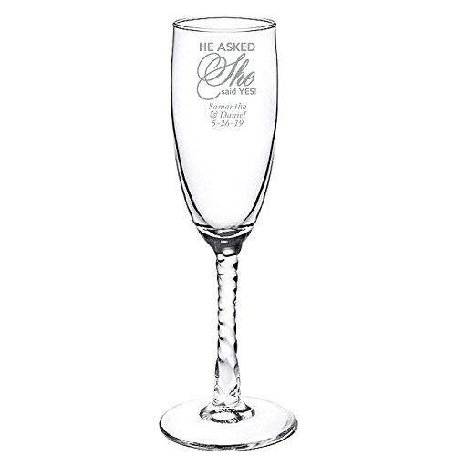 Personalized Color Printed Twisted Stem Champagne Flute - He Asked She Said Yes - Silver - 48 pack (Stem Flute Twisted)