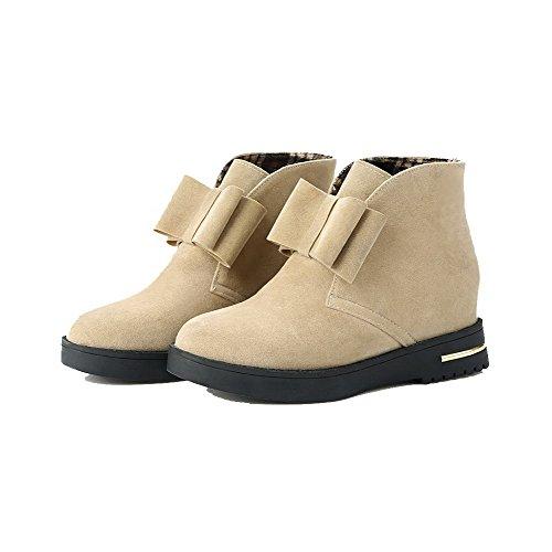 AgooLar Women's Pull-On Round-Toe Kitten-Heels Frosted Solid Boots Beige zrcG4da9