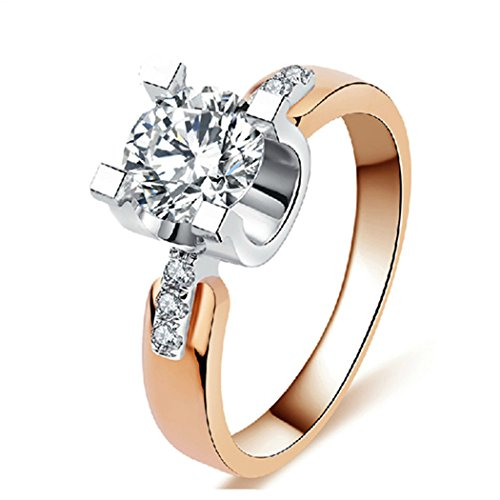 Mrs Lovett Costume (Duo La Stylish Wedding Ring Rose Gold Plated Zircon Noble Women Ring Size 6 US)