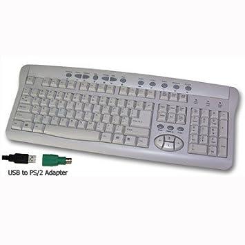 Adesso Multimedia Keyboard (White) - Teclado (USB+PS/2, Color blanco, QWERTY, WINDOWS VISTA/XP/2000/ME/98SE, FCC/CE/NOM/NYCE): Amazon.es: Informática