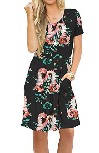 AUSELILY Women's Short Sleeve Pleated Loose Swing Casual Dress with Pockets Knee Length (XS, Black Red Floral) ()