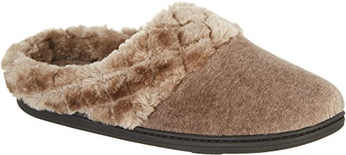 Dearfoams Womens Quilted Velour Clog Slippers Large Tan