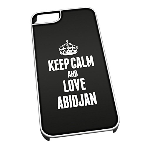 Bianco cover per iPhone 5/5S 2310 nero Keep Calm and Love Abidjan