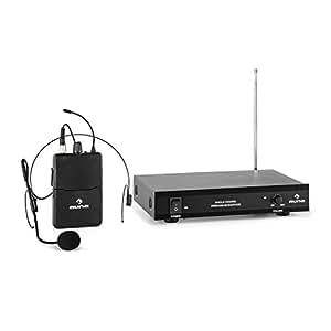 auna VHF-1-HS Micrófono con auriculares inalámbrico VHF de 1 canal (alcance hasta 100 metros, incluye receptor y micro manos libres)
