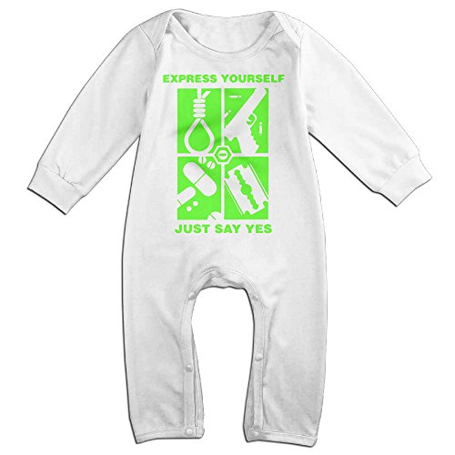 NCACA Newborn Babys Boy's & Girl's Type O Logo Negative Long Sleeve Bodysuit Baby Onesie For 6-24 Months White Size 18 Months (Type O Negative Summer Girl compare prices)