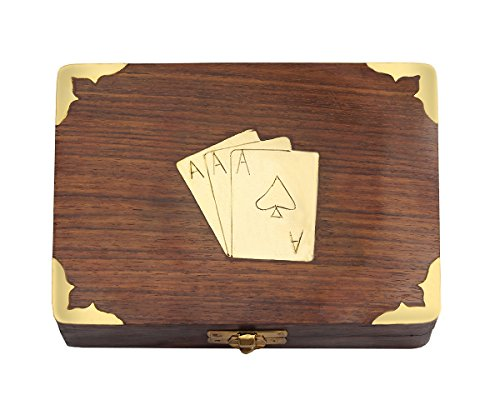 Wooden Playing Card Holders (Classic Wooden Playing Cards Holder Double Deck Case Storage Box with Brass Ace Design Family Card Game Poker Table Accessories)
