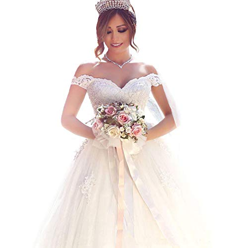 Yuxin Elegant Sweetheart Princess Ball Gown Wedding Dresses 2018 Lace Off Shoulder Bridal Gowns(Ivory,10) ()