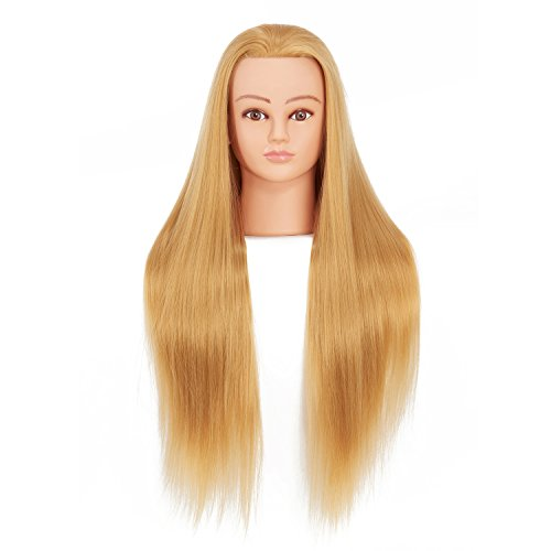 """Price comparison product image Hairginkgo 28-30"""" Cosmetology Mannequin Head Hair Styling Training Head Synthetic Fiber Manikin Head Doll Head with Clamp (blond)"""
