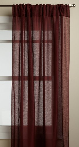 Lorraine Home Fashions Reverie 60-inch x 72-inch Tailored Panel, Burgundy Tailored Sheer
