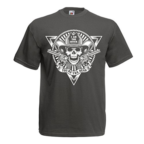 T Shirts For Men Skull Shooter - Shooting Presents, Hunting Gifts (Medium Graphite Multi Color) (Tagging Ticket)