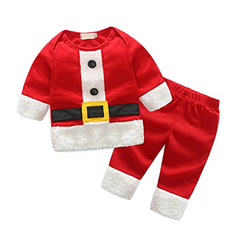 Styleroom Baby Boy Christmas Santa Claus Infant Jumpsuit Costume Set Toddler Winter Warm Tops Pants, Red, Size 6-12 Months, (Santa Suits For Sale Cheap)
