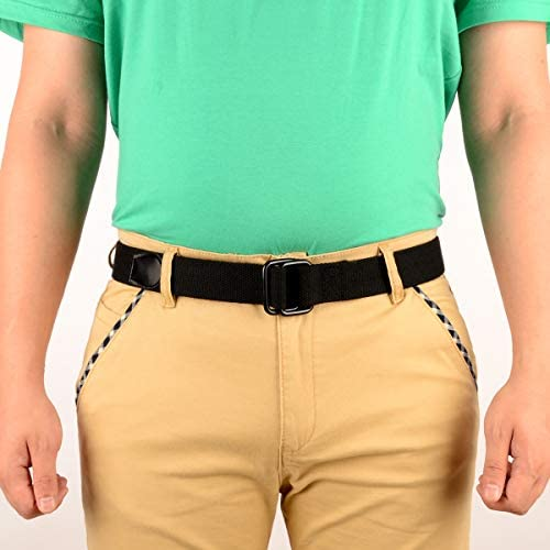 Drizzte Plus Size 39-75 Long Double Ring Big Mens Canvas Fabric Cloth Belts Black