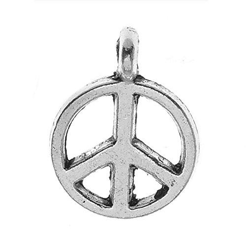 Beadaholique Lead-Free Pewter Charms, Sleek Peace Signs 12mm, 6 Pieces, Antiqued Silver - Lead Free Pewter Charm