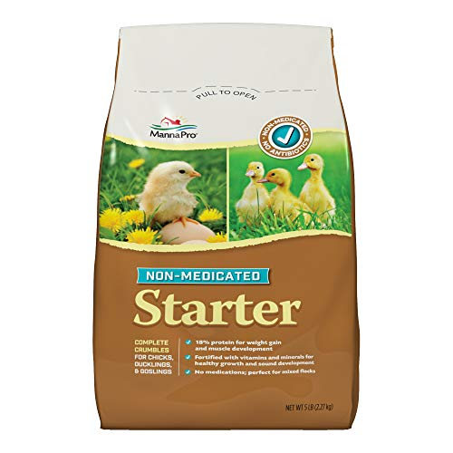 Manna Pro Chick Starter Feed, 5 Pound, Non‑Medicated, for Chicks Ducklings and Goslings
