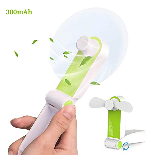 AUDIIOO Mini Handheld Fan USB Rechargeable - Portable Folding Fan Pocket Size Little Fan Lightweight Quiet Personal Fan 2 Adjustable Wind Speed for Office Home Workplace Travel Bus Subway (Green)